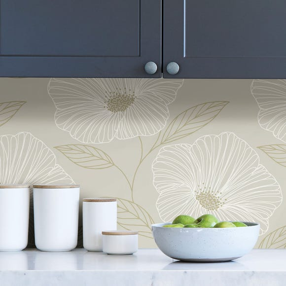 NuWallpaper Gold Floral Self Adhesive Wallpaper