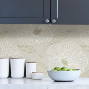 NuWallpaper Gold Floral Self Adhesive Wallpaper