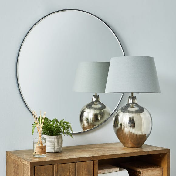 Apartment Round Wall Mirror 80cm Grey Grey undefined