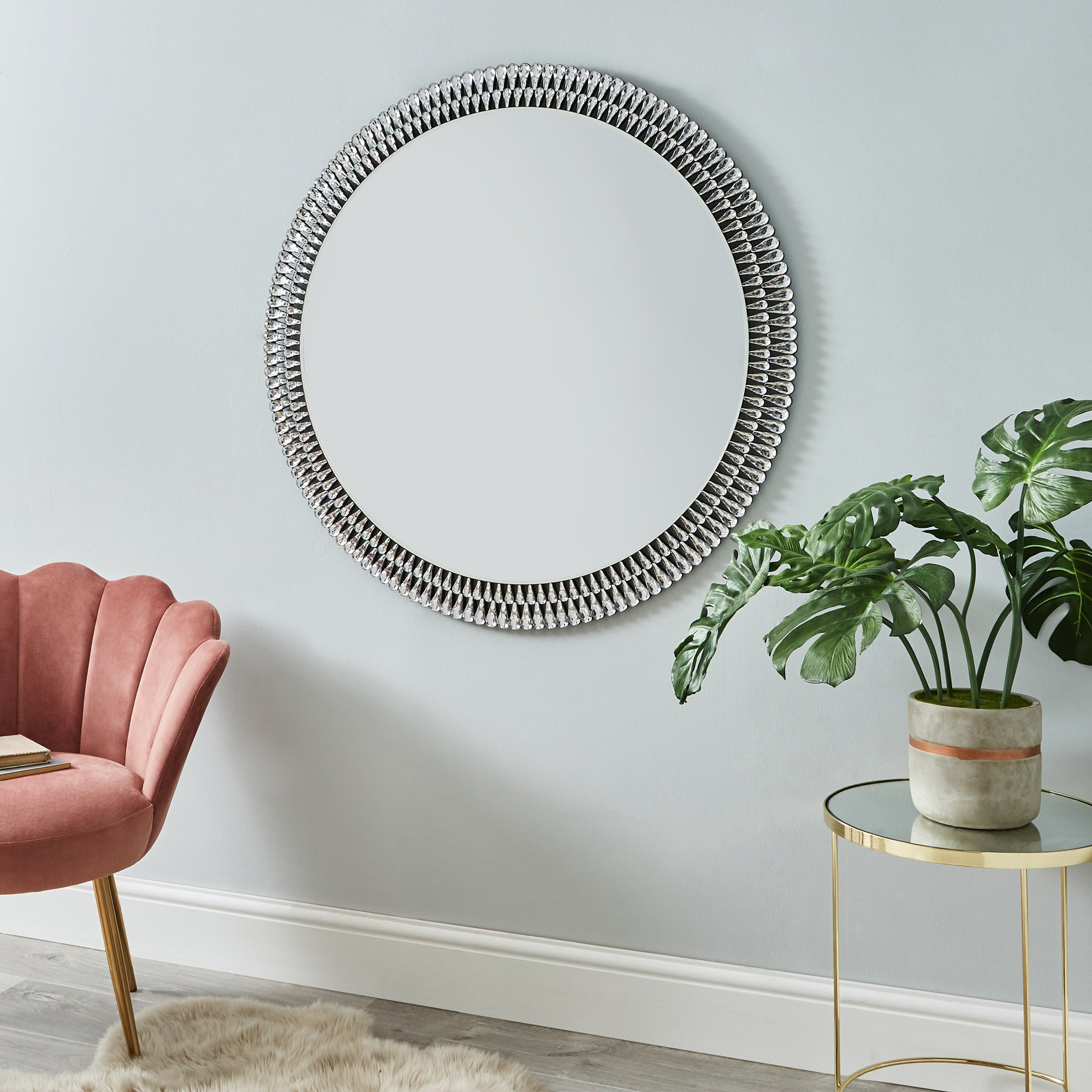 Click to view product details and reviews for Glam Gem Edge Round Mirror 100cm Black.