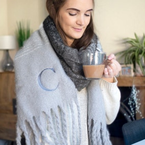 Personalised Womens Grey Alphabet Chunky Scarf