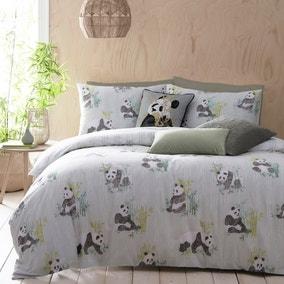 Pandas Green Reversible Duvet Cover and Pillowcase Set