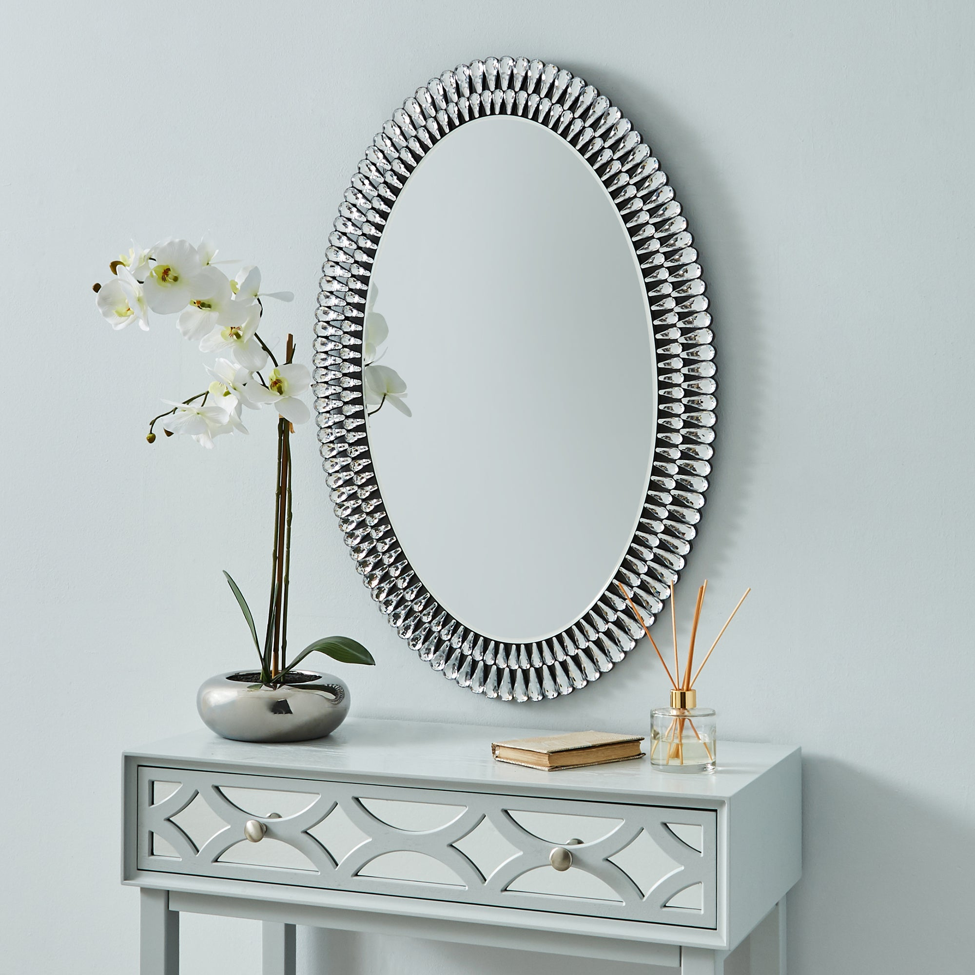 Click to view product details and reviews for Glam Gem Edge Oval Mirror Black.