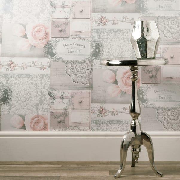 Ophelia Decoupage Blush Wallpaper Blush