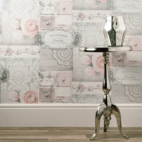 Ophelia Decoupage Blush Wallpaper