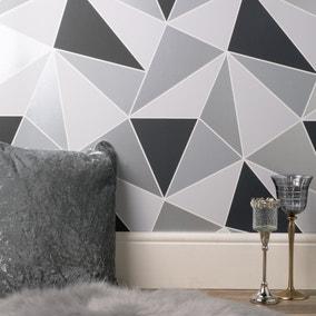 Apex Geo Sidewall Wallpaper Silver