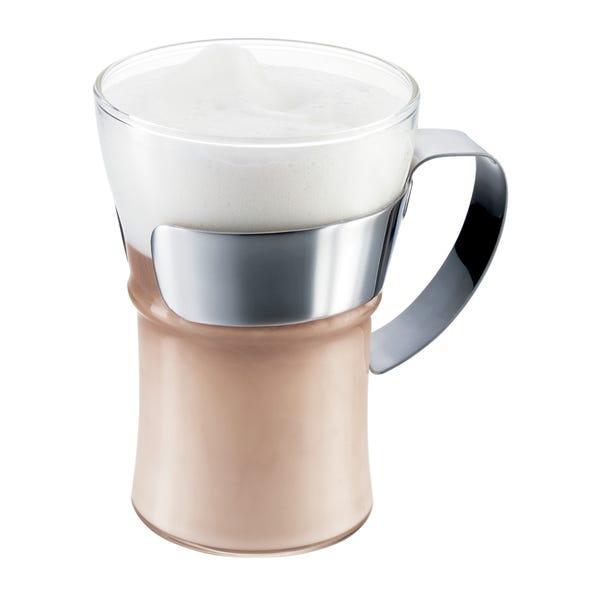 Set of 2 Bodum Assam Handled Coffee Glasses Clear