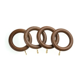 Pack of 4 Universal Walnut Wooden Curtain Rings Dia. 35mm
