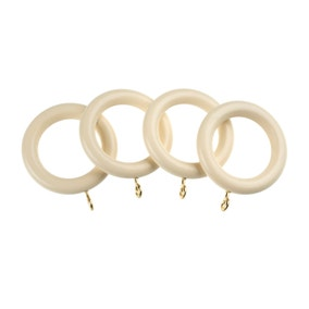 Pack of 4 Universal Cream Wooden Curtain Rings Dia. 35mm