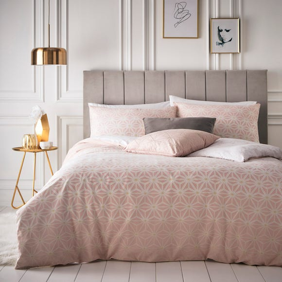 Tessellate Geometric Blush Reversible Duvet Cover and Pillowcase Set Blush (Pink) undefined