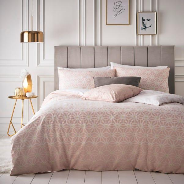 Tesate Geometric Blush Reversible, Blush Pink And Grey Bedding Dunelm
