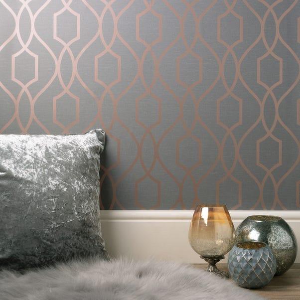Apex Trellis Sidewall Wallpaper Copper Copper