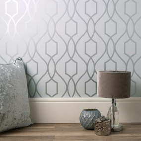 Trellis Silver Wallpaper