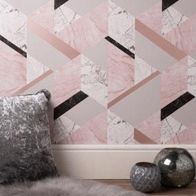 Marblesque Geo Pink Wallpaper