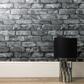 Rustic Silver Brick Wallpaper