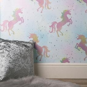 Coloroll Dancing Unicorn Pink Wallpaper