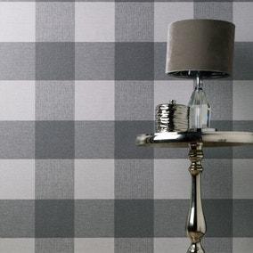 Glamorous Check Charcoal Wallpaper