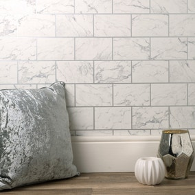 Brick Marble Silver Wallpaper