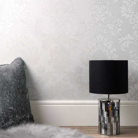 Quartz Damask Silver Wallpaper Silver