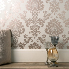 Quartz Damask Rose Gold Wallpaper