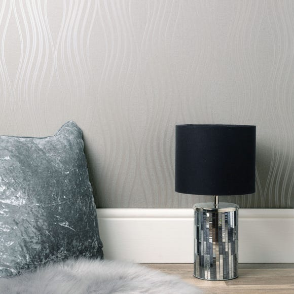 Quartz Wave Silver Wallpaper Silver