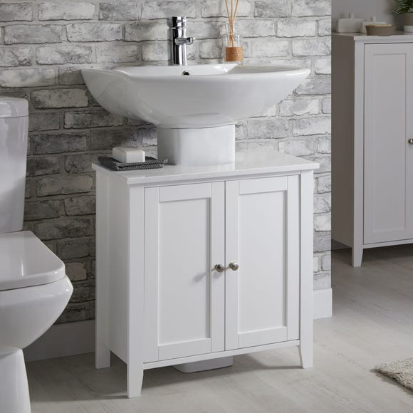 Marble Effect Under Sink Unit White