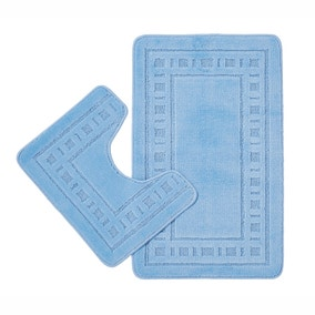 Catherine Lansfield Armoni Blue Bath and Pedestal Mat Set