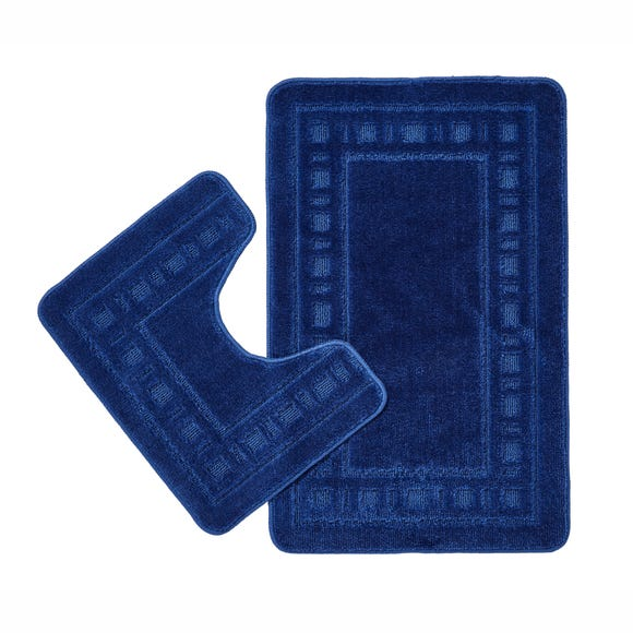 Catherine Lansfield Armoni Navy Bath Mat and Pedestal Mat Set
