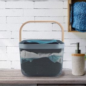 Cool Grey Wire Storage Basket with Wooden Handle
