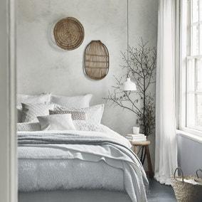 Murmur Nara Circle Jacquard White 100% Cotton Percale Duvet Cover