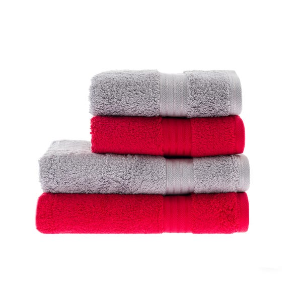 Red & Silver Egyptian Cotton 4 Piece Towel Bale