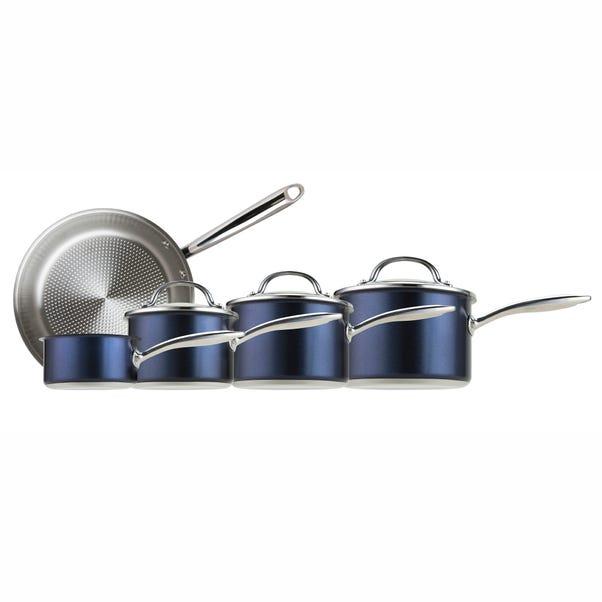 Prestige Optisteel Stainless Steel 5 Piece Pan Set Blue