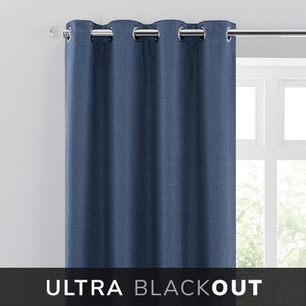 Blackout Ultra Navy Eyelet Curtains  undefined