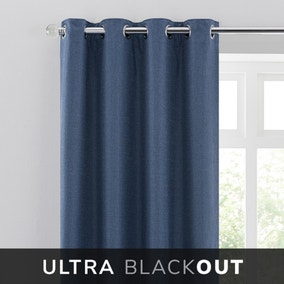 Blackout Ultra Navy Eyelet Curtains