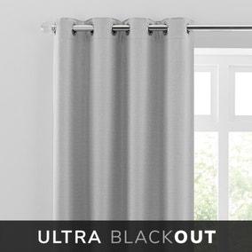 Montreal Thermal Blackout Ultra Grey Eyelet Curtains