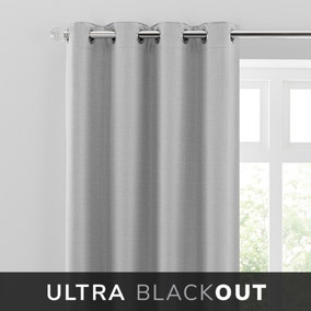 Blackout Ultra Grey Eyelet Curtains