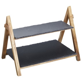 Artesa Two Tier Slate Serving Stand