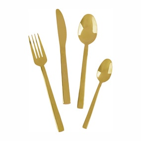 Mikasa Diseno 16 Piece Gold Cutlery Set