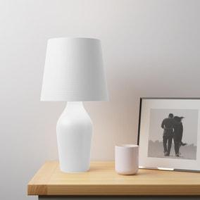 Ava Stoneware White Table Lamp