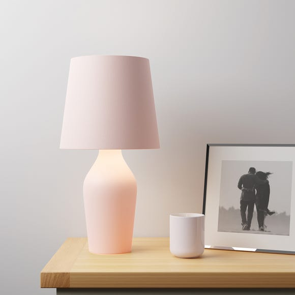Ava Stoneware Blush Pink Table Lamp Blush