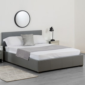 Waverley Grey Faux Leather Ottoman Bed