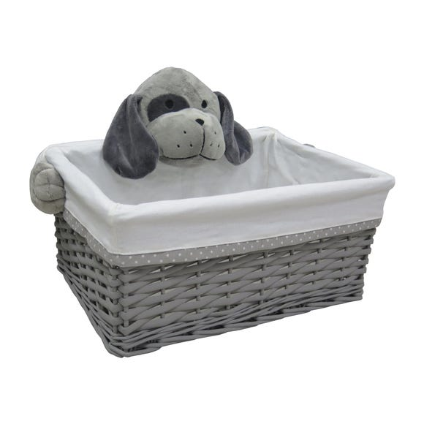 Plush Dog Wicker Storage Basket Grey undefined