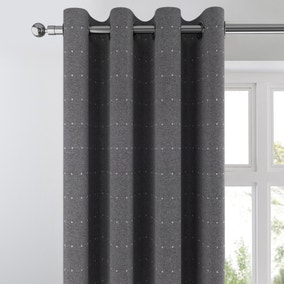 Dotty Graphite Jacquard Eyelet Curtains