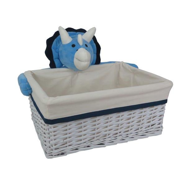 Plush Dinosaur Wicker Storage Basket White undefined
