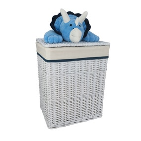 Plush Dinosaur Wicker Storage Basket