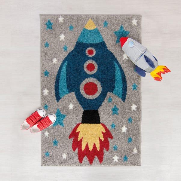 Space Rocket Rug Grey