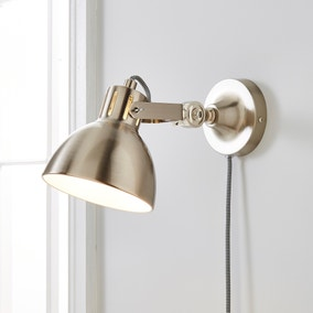 Poppy Easy Fit Wall Light Plug In Satin Nickel