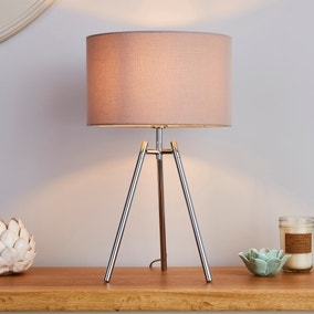Nora Tripod Table Lamp  Chrome