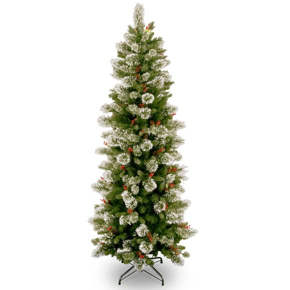 7.5ft Berries & Cones Slim Christmas Tree Green