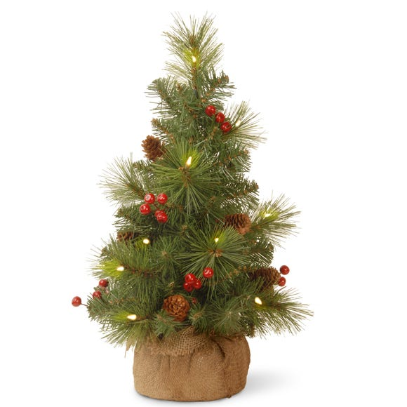 2ft Pre-Lit Berries & Cones Christmas Tree Green